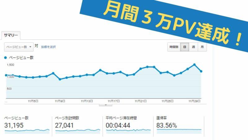 月間3万PV達成したブログの収益は!?