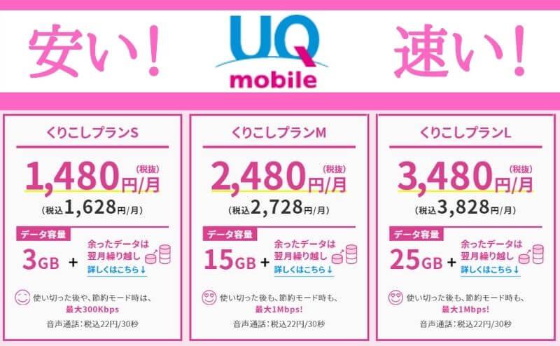 UQモバイルの新料金プランは安い!